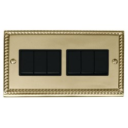 Click Deco Georgian Cast Brass 6 Gang 2 Way 10AX Switch with Black Insert