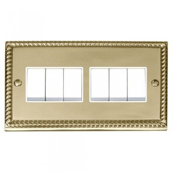 Click Deco Georgian Cast Brass 6 Gang 2 Way 10AX Switch with White Insert