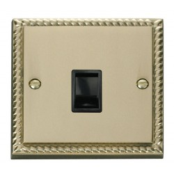Click Deco Georgian Cast Brass Single RJ11 Socket (Ireland/USA) with Black Insert