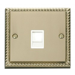 Click Deco Georgian Cast Brass Single RJ11 Socket (Ireland/USA) with White Insert