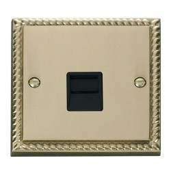 Click Deco Georgian Cast Brass Single Telephone Socket Outlet Master with Black Insert