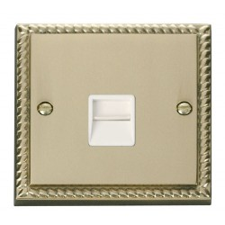 Click Deco Georgian Cast Brass Single Telephone Socket Outlet Master with White Insert