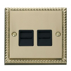 Click Deco Georgian Cast Brass Twin Telephone Socket Outlet Master with Black Insert
