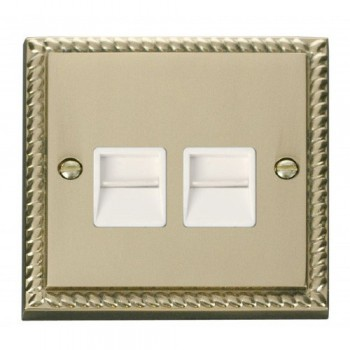 Click Deco Georgian Cast Brass Twin Telephone Socket Outlet Secondary with White Insert
