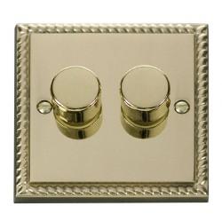Click Deco Georgian Cast Brass 2 Gang 2 Way 400W Dimmer Switch