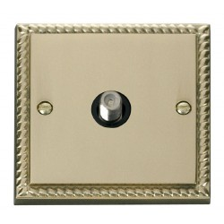 Click Deco Georgian Cast Brass 1 Gang Satellite Socket Outlet with Black Insert