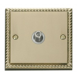 Click Deco Georgian Cast Brass 1 Gang Satellite Socket Outlet with White Insert