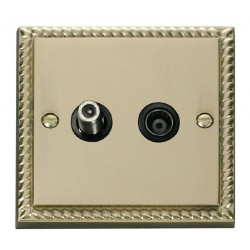 Click Deco Georgian Cast Brass 1 Gang Satellite and Isolated Coaxial Socket Outlet with Black Insert