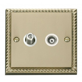 Click Deco Georgian Cast Brass 1 Gang Satellite and Isolated Coaxial Socket Outlet with White Insert