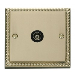 Click Deco Georgian Cast Brass Single Isolated Coaxial Socket Outlet with Black Insert