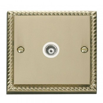 Click Deco Georgian Cast Brass Single Isolated Coaxial Socket Outlet with White Insert