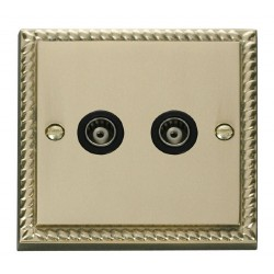 Click Deco Georgian Cast Brass Twin Isolated Coaxial Socket Outlet with Black Insert