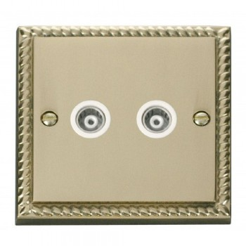 Click Deco Georgian Cast Brass Twin Isolated Coaxial Socket Outlet with White Insert