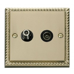 Click Deco Georgian Cast Brass 1 Gang Satellite and Coaxial Socket Outlet with Black Insert