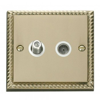 Click Deco Georgian Cast Brass 1 Gang Satellite and Coaxial Socket Outlet with White Insert