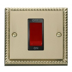 Click Deco Georgian Cast Brass 1 Gang 45A Double Pole Switch with Black Insert