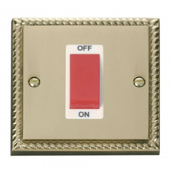 Click Deco Georgian Cast Brass 1 Gang 45A Double Pole Switch with White Insert