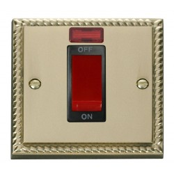 Click Deco Georgian Cast Brass 1 Gang 45A Double Pole Switch With Neon with Black Insert
