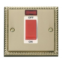 Click Deco Georgian Cast Brass 1 Gang 45A Double Pole Switch With Neon with White Insert
