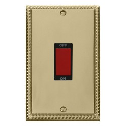Click Deco Georgian Cast Brass 2 Gang 45A Double Pole Switch with Black Insert