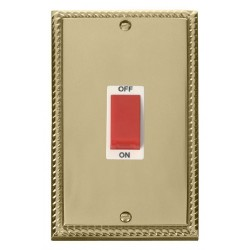 Click Deco Georgian Cast Brass 2 Gang 45A Double Pole Switch with White Insert