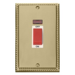 Click Deco Georgian Cast Brass 2 Gang 45A Double Pole Switch With Neon with White Insert