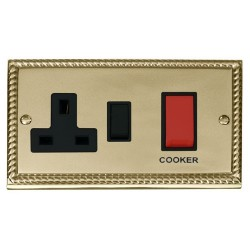 Click Deco Georgian Cast Brass 45A Double Pole Switch and 13A Switched Socket with Black Insert