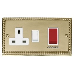 Click Deco Georgian Cast Brass 45A Double Pole Switch and 13A Switched Socket with White Insert