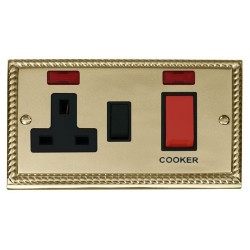 Click Deco Georgian Cast Brass 45A Double Pole Switch and 13A Switched Socket with Neons (2) with Black Insert