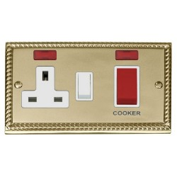 Click Deco Georgian Cast Brass 45A Double Pole Switch and 13A Switched Socket with Neons (2) with White Insert