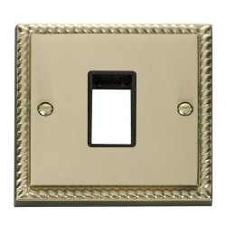 Click Deco Georgian Cast Brass 1 Gang Plate Single Aperture with Black Insert