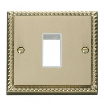 Click Deco Georgian Cast Brass 1 Gang Plate Single Aperture with White Insert