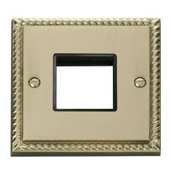Click Deco Georgian Cast Brass 1 Gang Plate Twin Aperture with Black Insert
