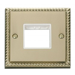 Click Deco Georgian Cast Brass 1 Gang Plate Twin Aperture with White Insert