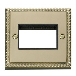 Click Deco Georgian Cast Brass 1 Gang Plate Triple Aperture with Black Insert