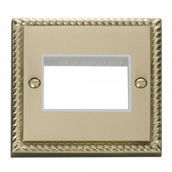 Click Deco Georgian Cast Brass 1 Gang Plate Triple Aperture with White Insert