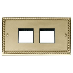 Click Deco Georgian Cast Brass 2 Gang Plate (2 x 2) Aperture with Black Insert