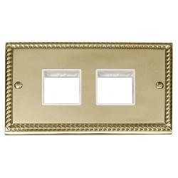 Click Deco Georgian Cast Brass 2 Gang Plate (2 x 2) Aperture with White Insert