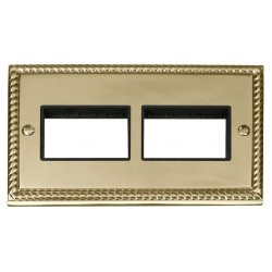 Click Deco Georgian Cast Brass 2 Gang Plate (3 x 3) Aperture with Black Insert