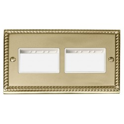 Click Deco Georgian Cast Brass 2 Gang Plate (3 x 3) Aperture with White Insert