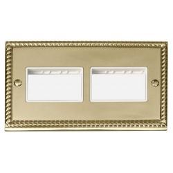 Click Deco Georgian Cast Brass 2 Gang Plate (3 x 3) Aperture with White Insert