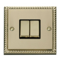 Click Deco Georgian Cast Brass 2 Gang 2 Way Ingot 10AX Switch with Black Insert