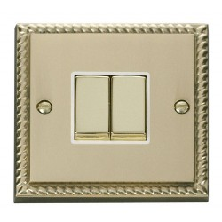 Click Deco Georgian Cast Brass 2 Gang 2 Way Ingot 10AX Switch with White Insert