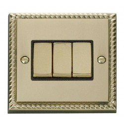 Click Deco Georgian Cast Brass 3 Gang 2 Way Ingot 10AX Switch with Black Insert