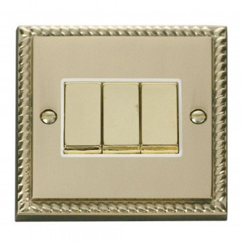 Click Deco Georgian Cast Brass 3 Gang 2 Way Ingot 10AX Switch with White Insert