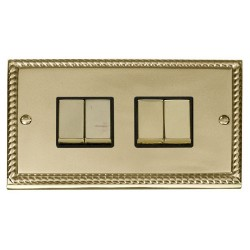 Click Deco Georgian Cast Brass 4 Gang 2 Way Ingot 10AX Switch with Black Insert