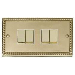 Click Deco Georgian Cast Brass 4 Gang 2 Way Ingot 10AX Switch with White Insert