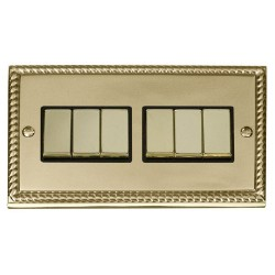Click Deco Georgian Cast Brass 6 Gang 2 Way Ingot 10AX Switch with Black Insert