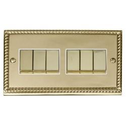 Click Deco Georgian Cast Brass 6 Gang 2 Way Ingot 10AX Switch with White Insert