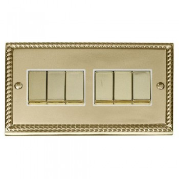 Click Deco Georgian Cast Brass 6 Gang 2 Way Ingot 10AX Switch with White Insert
